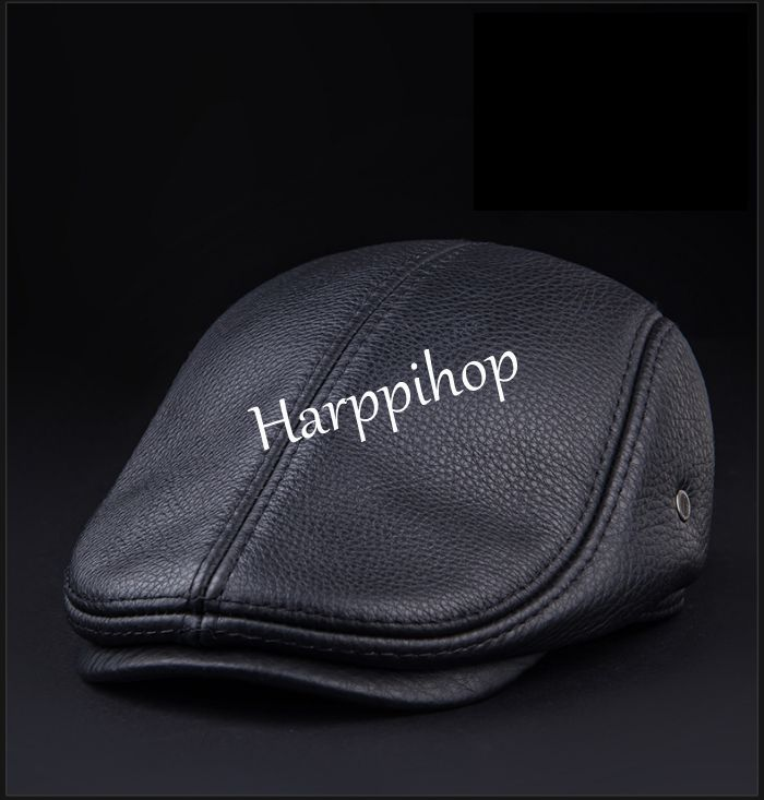 2019 New Design Men 39 s 100 Genuine Leather Cap brand Newsboy Cabbie Hat Golf Hat winter warm hats with ears in Men 39 s Berets from Apparel Accessories