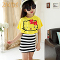 Lovely Hello Kitty Girl Dresses Casual Summer Striped Mini Dress+Cats Bat Shirts Girls Clothing Sets Children Kids Clothes 2016