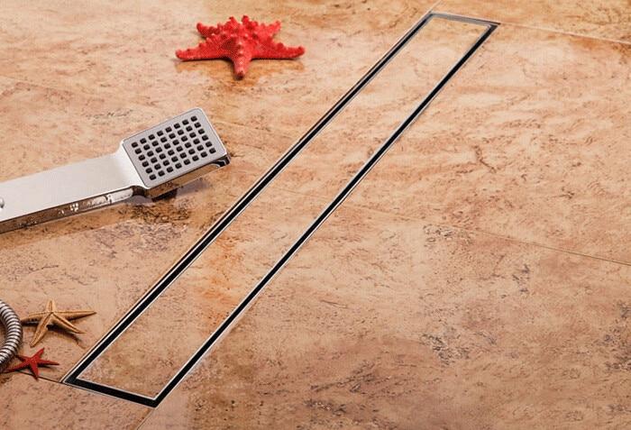 Free shipping 304 stainless steel 600mm Tile insert linear shower drain long floor drain shower drain