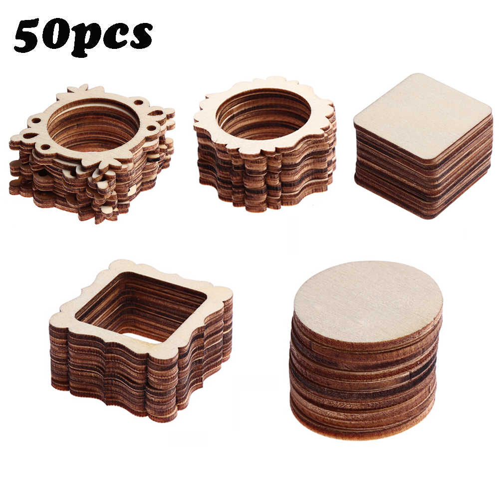 50Pcs/Set Unfinished Frame Carved Wooden Ornaments Embellishment For Scrapbooking Card Wall Tree Decor DIY Crafts 5 Types