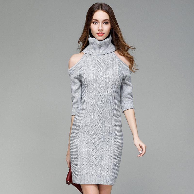 Autumn Women Formal Off Shoulder Half Sleeve Turtleneck Knitted Dress Sexy Lady Flowers Twisted Jumper Dress Christmas Party Top turtleneck cold shoulder jumper dress