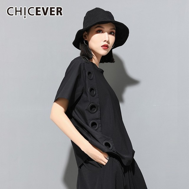 CHICEVER Summer Streetwear Balck Solid Patchwork Ring Hollow Out Women T shirt O Neck Short Sleeve Loose Slim Female Tops 2020