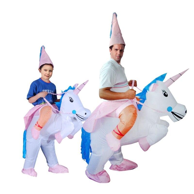 Inflatable halloween costume Unicorn onesie Adult kids Horse Fancy Dress jumpsuit Costume T-REX dinosaur cosplay