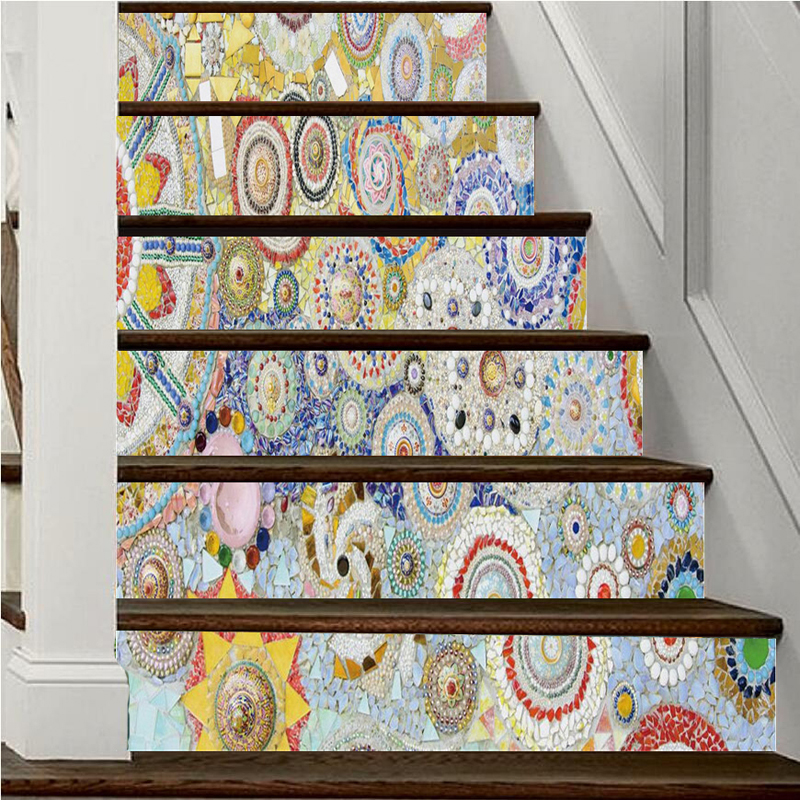 6pcs/Set Self Adhesive Stairway Mural Wallpaper Removable Wall Decals European Mosaic Wall Painting for Living Room Home Decor