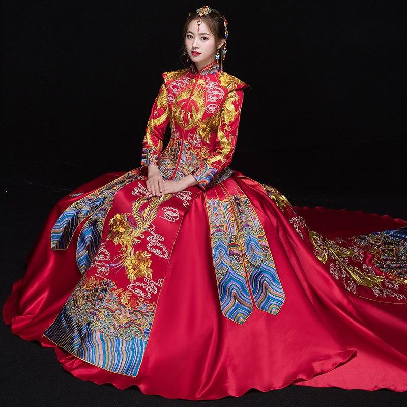 2018 Modern Cheongsam Long Qipao Wedding Dresses Traditional Chinese Dress China Clothing Store Vestido Oriental
