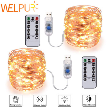 Festive outdoor copper string light 10m 20m remote control timing battery USB garden light for party Christmas decoration 1