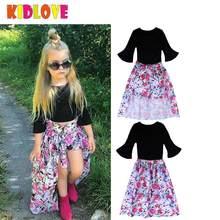KIDLOVE niños niña ropa conjunto negro T-shirt + Pantalones de flores +  cola falda ropa de verano traje 3 unids set conjunto de . cd202f8bcad7