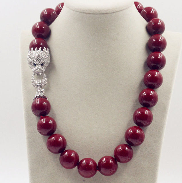 Huge 20mm Genuine Red Shell Pearl Necklace 18'' AAA Crystal Clasp