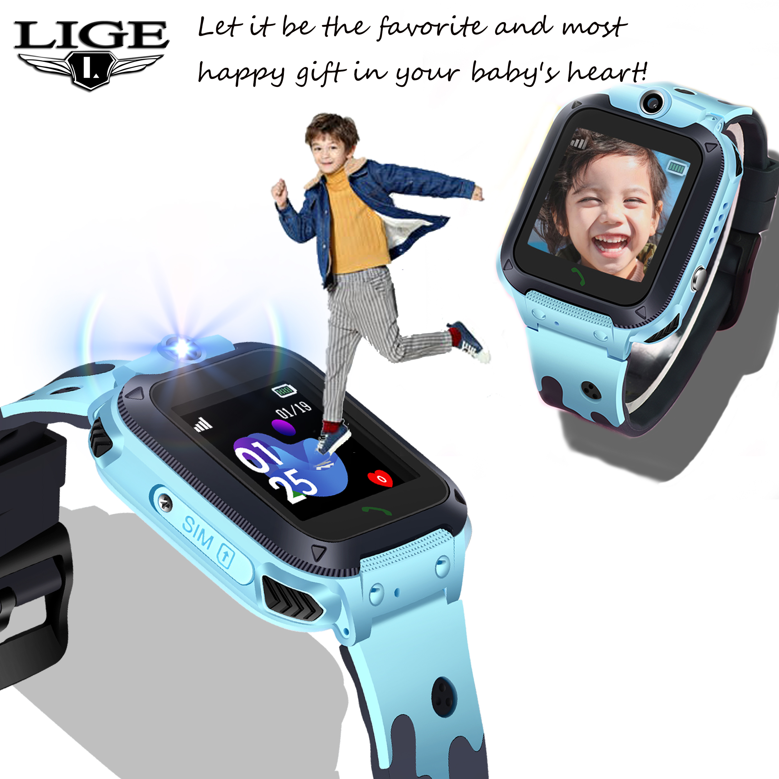 Smart Watch LIGE Children Phone Watch LBS Child Anti lost Baby Watch SOS Call Location Locator Tracker for Android With Camera in Smart Watches from Consumer Electronics