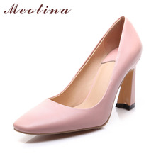 Natural Genuine Leather Fashion Women's Pumps Square Toe Office Chunky High Heels Female Plain Pink Shoes