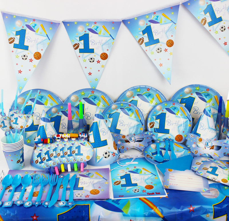 1Set Blue First Birthday Disposable Tableware Sets Childrens