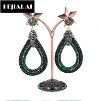 Mixed Colors Original Design Women Dangle Earrings Water Drop Shape Genuine Alligitor Leather Paved With Rhinestone
