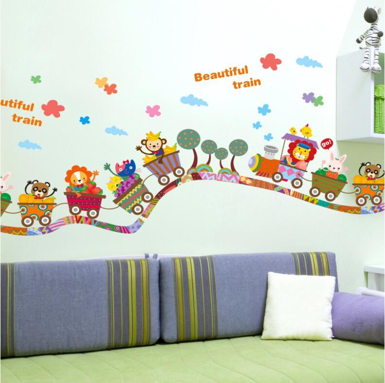 Adesivi murali animali creativi del fumetto trenino per for Decorazione stanza bambini
