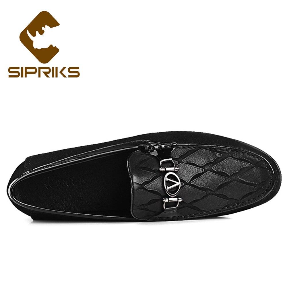 De Chaussures Mocassin Luxe Marque Hommes Sipriks Vache Décontractées Véritable Mocassins Verni Social Noir Pantoufle En Cuir Topsiders lFJcK1T3