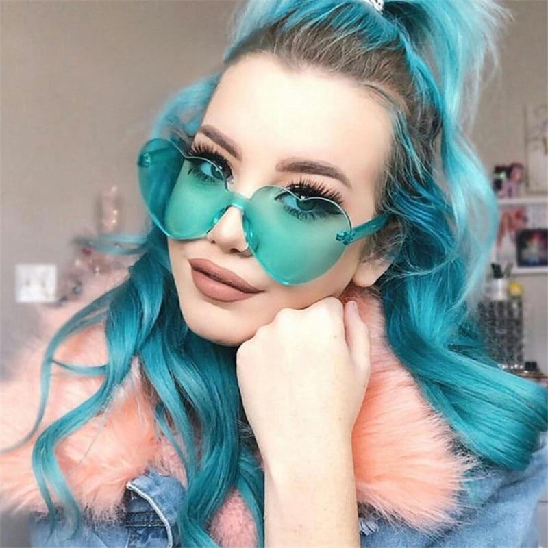 New Fashion Cute Sexy Retro Love Heart  Rimless Sunglasses Women Luxury Brand Designer Sun Glasses Eyewear Candy Color UV400