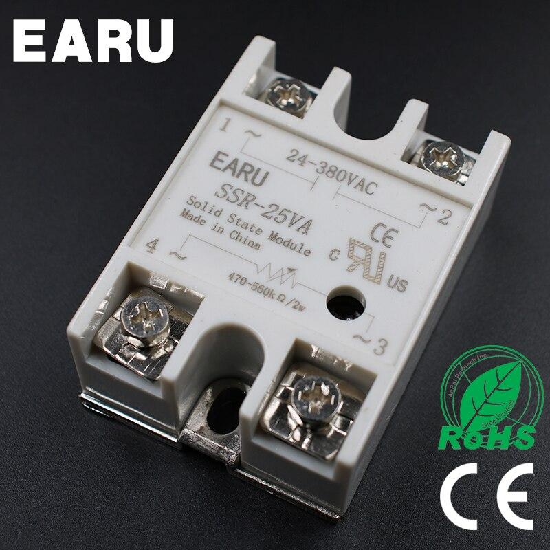 1pcs Solid State Relay Module SSR-25VA 25A 500K ohm TO 24-380V AC SSR 25VA Resistance Regulator