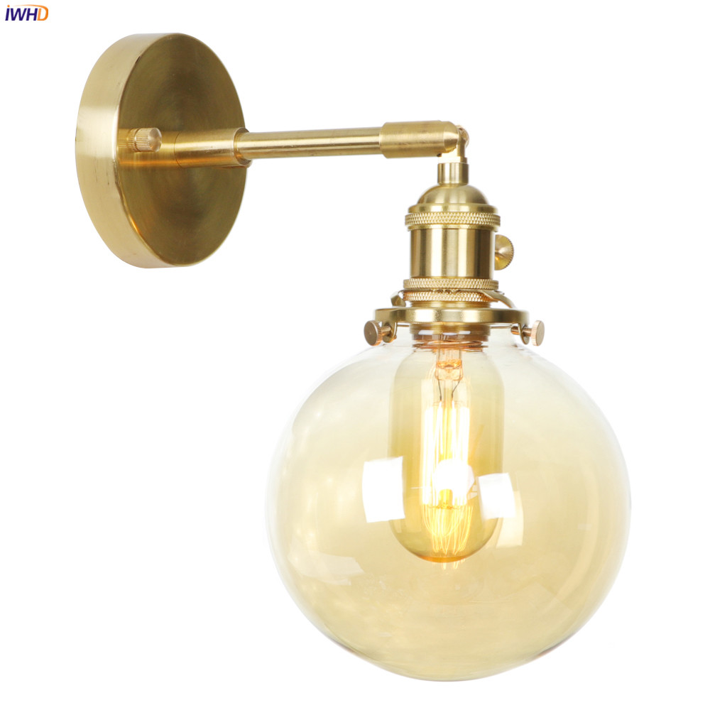 IWHD Nordic Glass Ball Copper Wall Lamp Bedroom Bathroom Mirror Switch Edison Retro LED Wall Light Sconce Edison Applique MuraleIWHD Nordic Glass Ball Copper Wall Lamp Bedroom Bathroom Mirror Switch Edison Retro LED Wall Light Sconce Edison Applique Murale