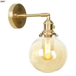 IWHD Nordic Стекло мяч Медь настенный светильник Спальня Ванная комната зеркало переключатель Эдисон Ретро светодиодный настенный светильник
