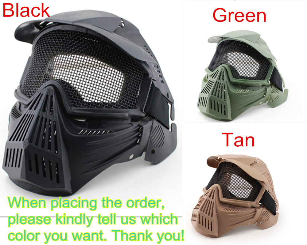 Steel Wire Gauze Network Full Face Safe Mask for Outdoor CS Survival War Game Halloween Horror Scare Full-face Masks