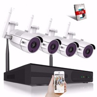 4CH 4MP Wifi CCTV Camera System Video Surveillance Kit Security Camera System Outdoor Bullet Waterproof Wireless