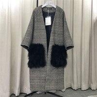 Fox Fur Real Bolso Quadriculado Xadrez de Lã Das Mulheres Casaco Cardigan de Manga Longa Casaco de Inverno Quente de Alta Qualidade Superior Venda Quente
