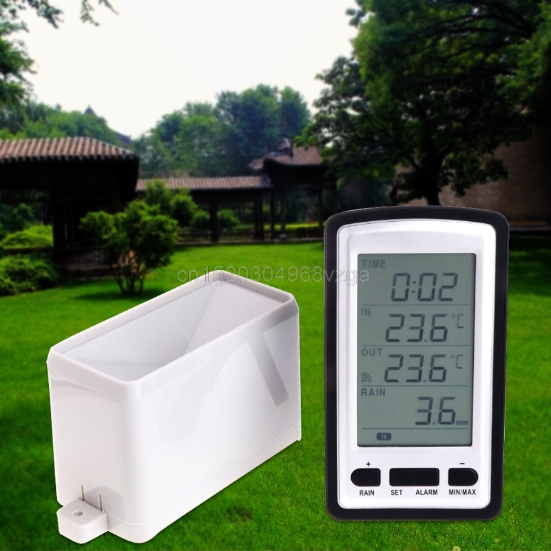 Wireless Rain Meter Gauge Weather Station indoor/outdoor temperature Recorder #H028# Drop shipping digital indoor air quality carbon dioxide meter temperature rh humidity twa stel display 99 points made in taiwan co2 monitor