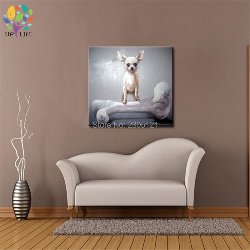 Håndmalet køligt hundeportræt Billede lærred Oljemaleri - Indretning af hjemmet - Foto 6