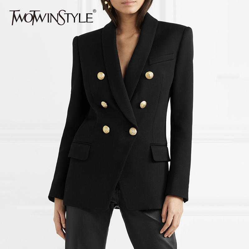 TWOTWINSTYLE Double Breasted Blazer Female Jacket Shawl Collar Long Sleeve Slim Women's Suit Blazer 2019 Autumn Office Clothing