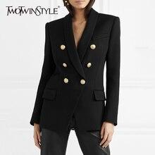 TWOTWINSTYLE Double Breasted Blazer Female Jacket Shawl Collar Long Sleeve Slim