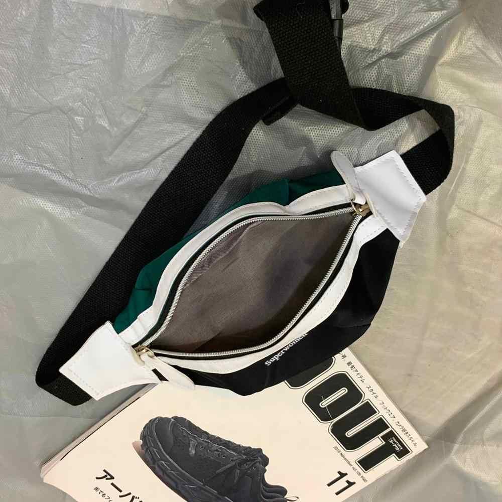 Lona Saco Da Cintura cinto de Banana bolsa Nova Marca para Mulheres cinto Pacote de Cintura saco Do Telefone Bolsa da cor do Contraste No Peito Barriga saco