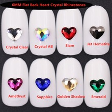 цена на 20pcs/Lot Nail Stones 6MM Flat back Heart Crystal Glitter Nail Rhinestones DIY 3d Nails Accessories  Design Nail Art Decoration