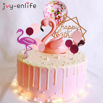 Baby Shower Decorations Flamingo Cake Topper First Birthday Party Decorations Kids Adult Wedding Cake Dessert Table Decoration 1