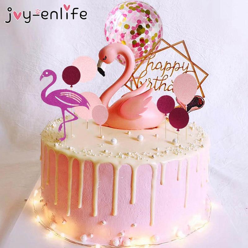 Pink Flamingo Cake Topper Balloon Cake Flags Birthday Kids Favors Cake Decoration Cupcake Topper For Wedding Dessert Table Decor
