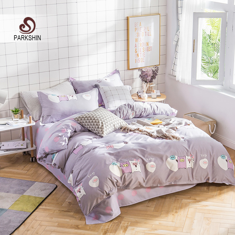 ParkShin Fashion Cartoon Cute Pig Bedding Set Comforter Duvet Cover Active Printing Set Bed Linen Multi Sizes