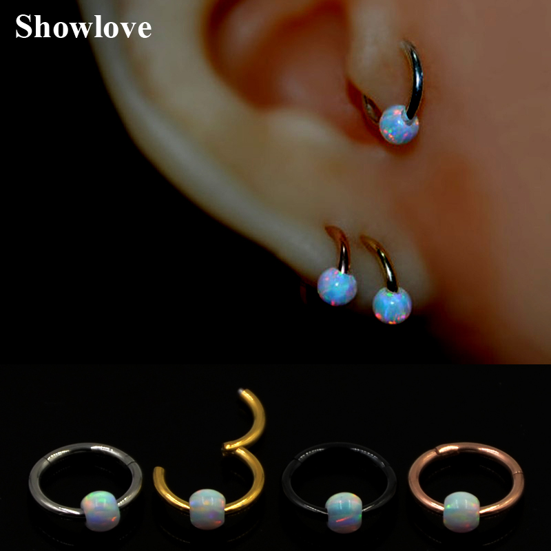 1pc 16g Titanium&Opal Stone Hinged Segment Ring Septum Nose ...