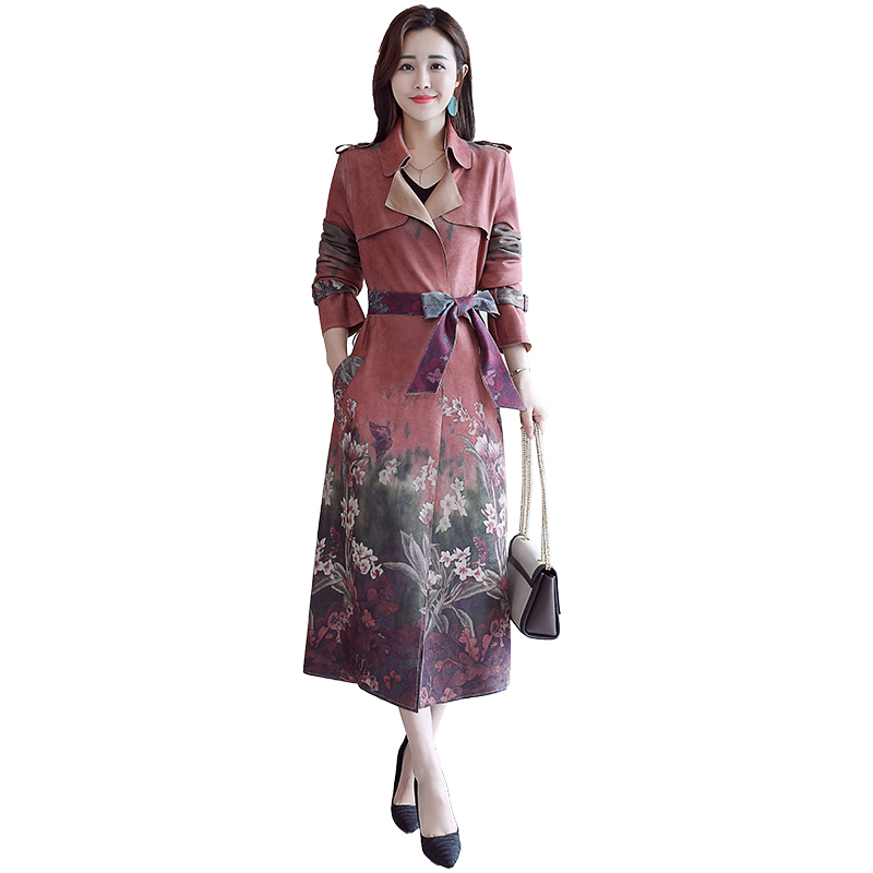 Trench-Coat Floral Spring Autumn Women Belt for Streetwear Turn-Down-Collar with Casacos