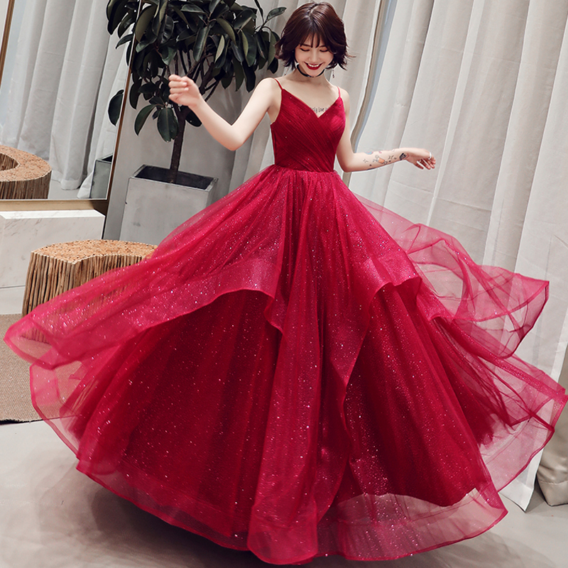 Grandes tailles robes De soirée jolie sangle Spaghetti ruché vin rouge couleurs formelle Robe De soirée Robe De soirée Robe De soirée 2019