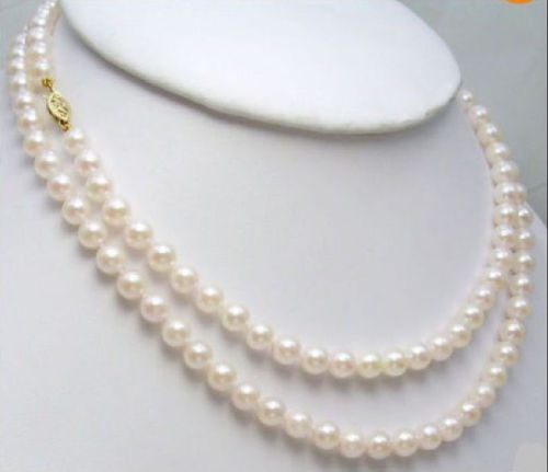 noble women gift 33INCH GOLD CLASP AA+ CHARMING 8-9MM WHITE NATURAL AKOYA PEARL NECKLACE