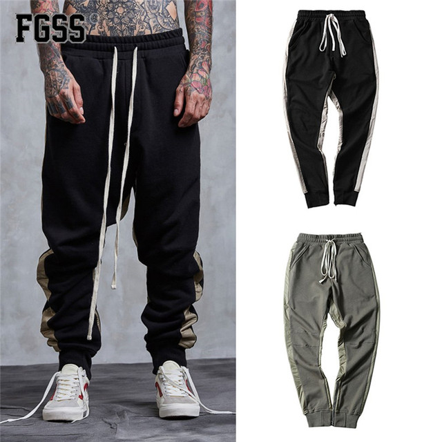 Forgiveness Men Casual Long Pants Solid Elastic Waist Sweatpants Little Feet Zipper Design Fashion Ed Male
