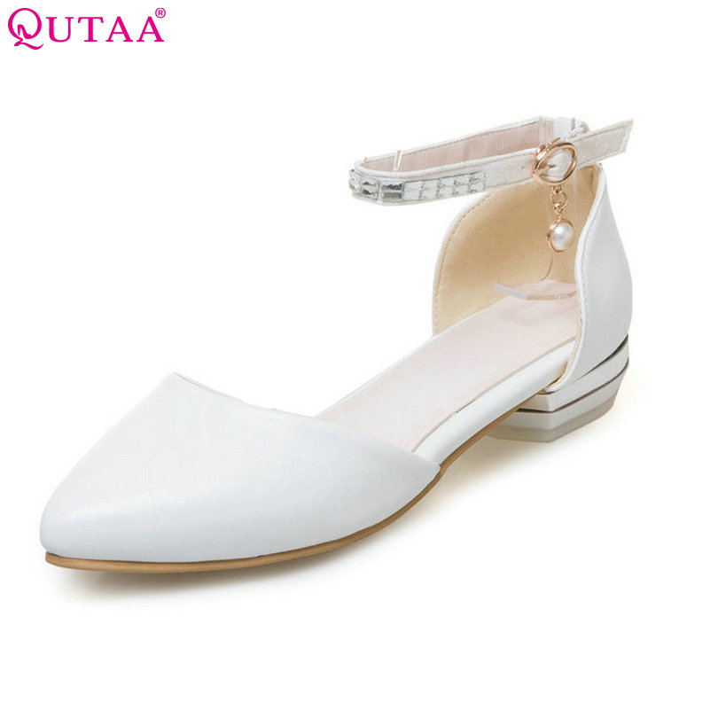 QUTAA 2017 Women Pumps Square Low Heel PU leather Pointed Toe String Bead Blue Ankle Strap Ladies Wedding Shoes Size 34-43 стоимость