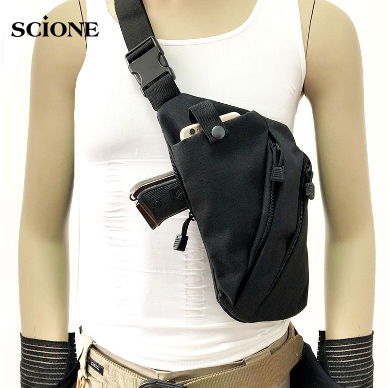 Men Nylon Tactical Chest Bag Messenger Bag Crossbody Bag Multifunctional Left Right Anti-theft Shoulder Bag Sac De Sport XA696WA