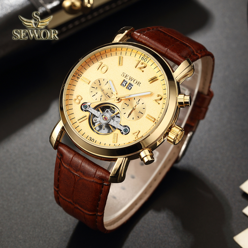 SEWOR Luxury Brand 2018 New Fashion Brown Leather Watch Band Gold Tourbillon Automatic Mechanical Men Sport Wrist Watch C391 все цены