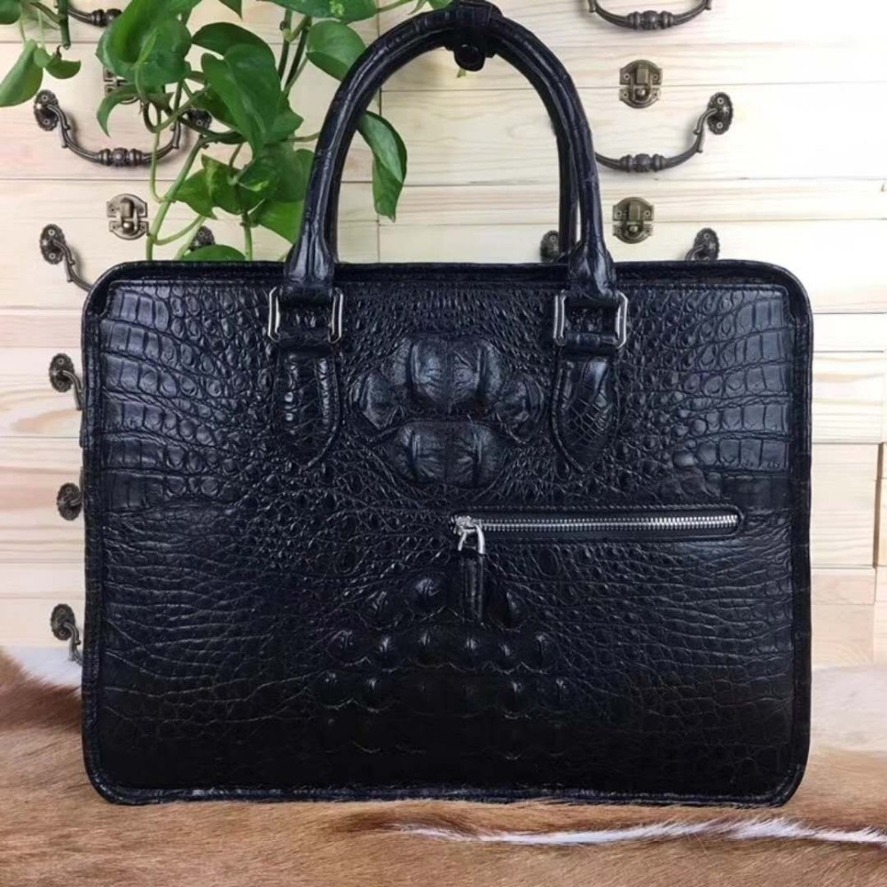 Laptop-Bag Briefcase Business-Bag Crocodile Luxury-Quality 100%Genuine Latest Real Men