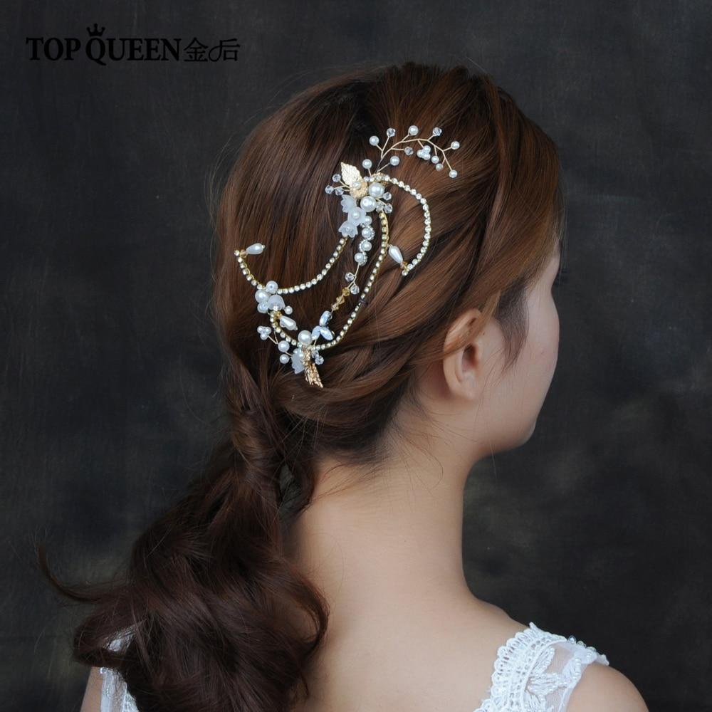 TOPQUEEN Golden Bridal Hairpieces Handmade Wedding Hair Accessories Resin Flower Bridal Headband Hair Jewelry HP139