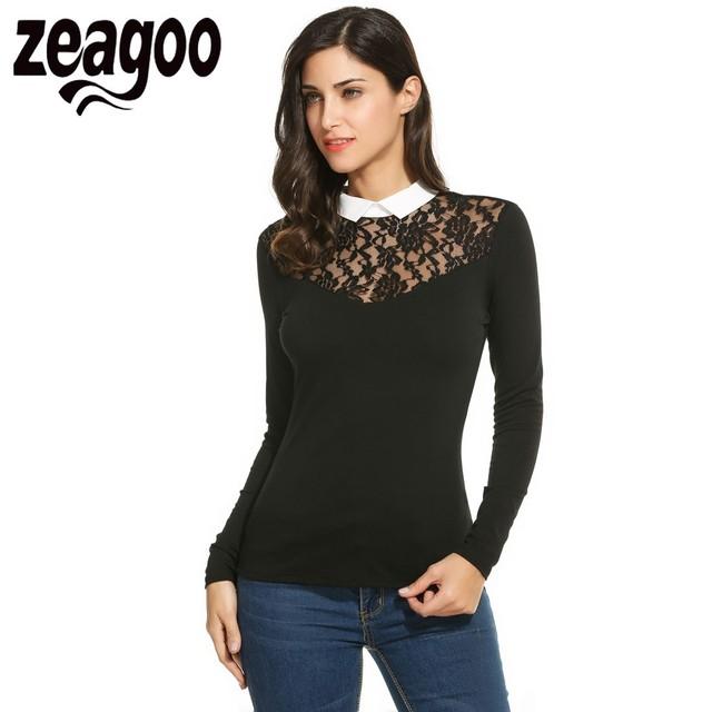 Zeagoo las mujeres atan la camiseta ocasional delgada de manga larga camiseta de primavera otoño Mujeres Tops Tees Patchwork OL Tops de Encaje Sexy T camisa