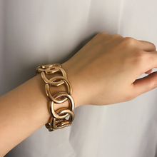 Punk Bracelets For Women Retro Simple Geometric Elastic Bracelet Pulsera Mujer Exaggerated Alloy Party Hand Chain Bangle Jewelry graceful exaggerated alloy multilayered body chain for women