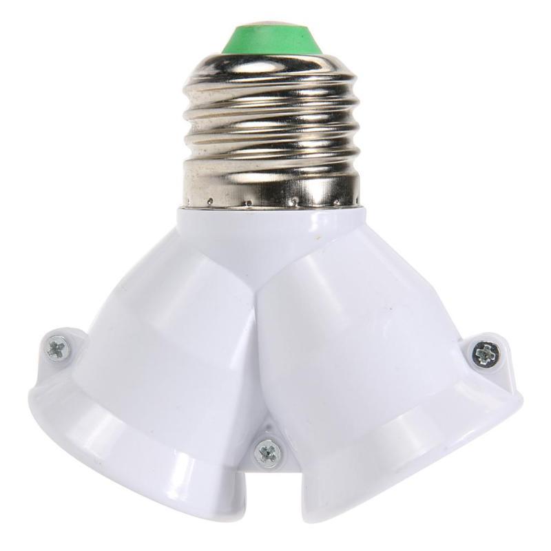 2 In 1 Double E27 Socket Base Extender Splitter Contact Adapter Converter Plug Halogen Light Lamp Bulb Holder Copper