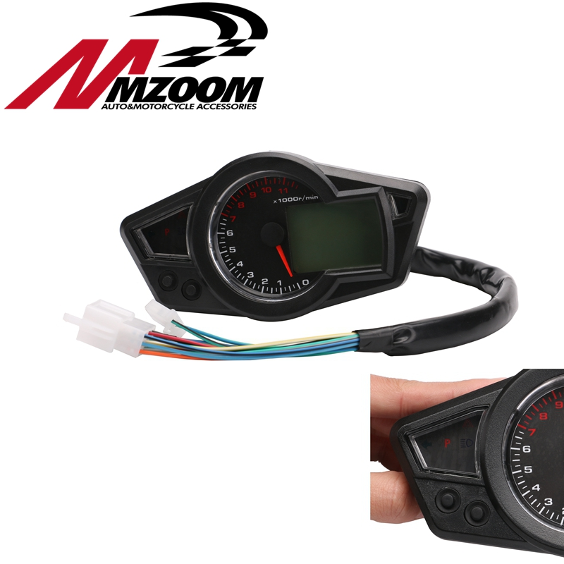 цены Motorcycle LCD backlight Speedometer Motorcycle Digital Odometer Speedometer Tachometer Fit for 2&4 Cylinders Motorbike Meter