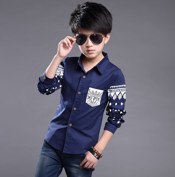 a01deedc 2018 Spring Autumn Fashion Boys Tops High Quality School Uniform Shirt Boy  Shirts Children Clothing Kids