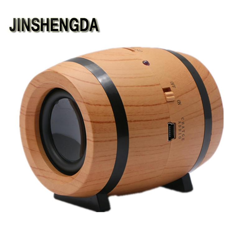 JINSHENGDA Bluetooth Speaker Oval Wood Grain Classical Beer Barrel Wireless Bluetooth Speaker Support TF Card